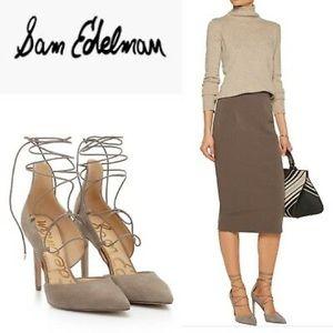 Sam Edelman Helaine suede Lace-Up gray Stiletto